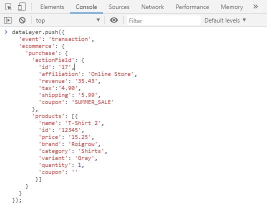 código data layer camada de dados no console developer tools renderizada