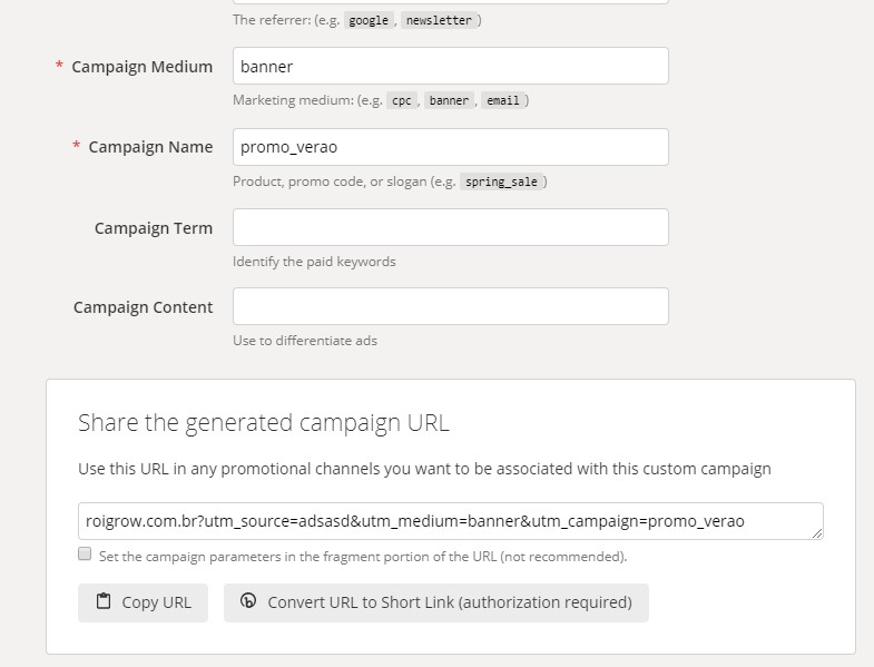 google campaign url builder ferramenta