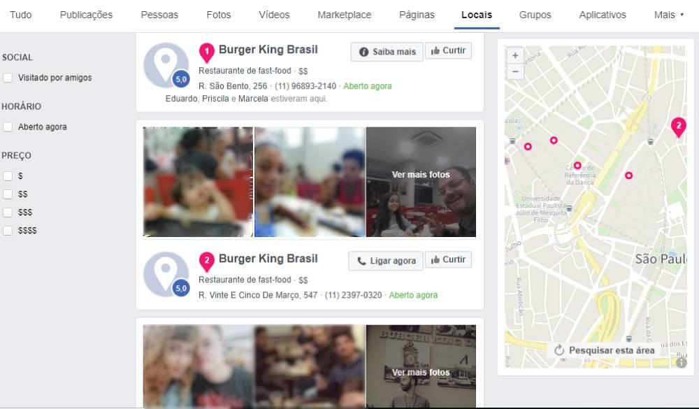 pesquisa de negócios locais no facebook