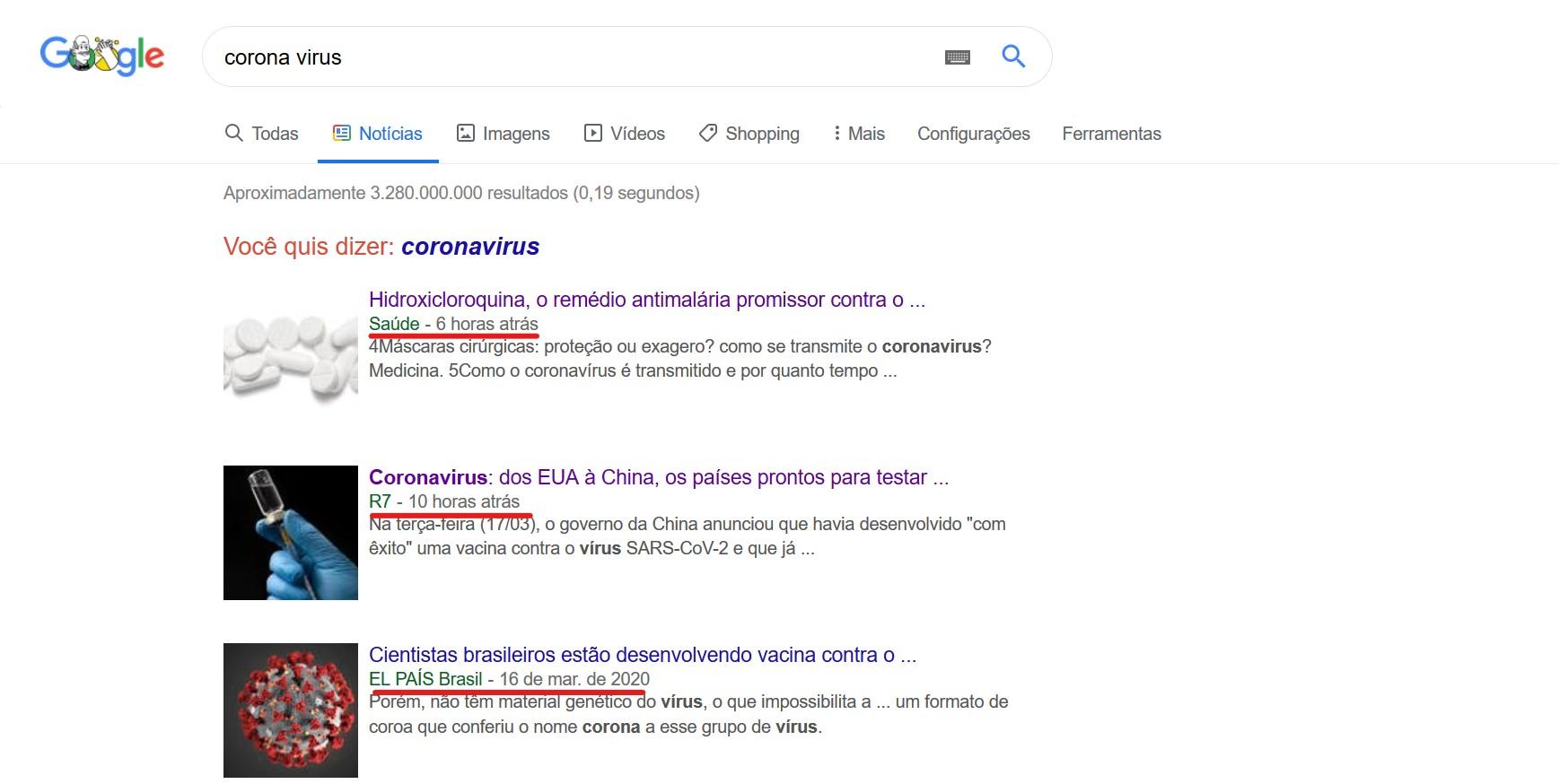 pesquisa no google news
